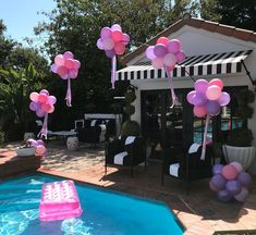 This little 5 year old had a Barbie pool party! Did she invite Malibu Ken? Barbie Birthday Party Games, Princess Party Games, 5th Birthday Party Ideas, 13th Birthday Parties, Barbie Party, 17th Birthday, Summer Birthday, Mermaid Barbie, Rainbow Balloons