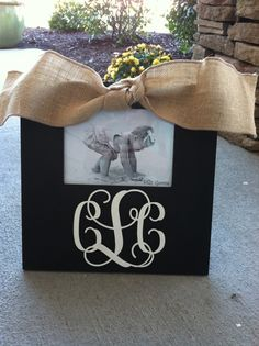 Graduation gift! Hand painted black and white monogram frame by SillyGooseFrames, $42.00