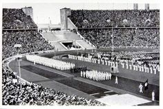 1936 Berlin Olympics Photograph - German Olympic Team Marching in the Olympic Stadium in Berlin.