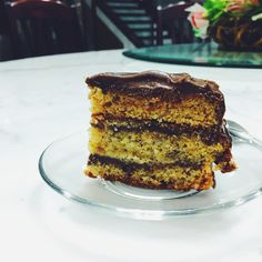 Banana layer cake with chocolate frosting  #food#homemade#baking#cake#banana#chocolate#iphonegraphy#sweet#vscocam#foodblogger