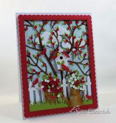 I love creating a die cut bird house scene card with garden images and a tree and cloud background. Paper Cards, Diy Cards, Quilling, 1st Birthday Cards, Dollar Tree Crafts, Pretty Cards, Flower Cards, Greeting Cards Handmade, Homemade Cards