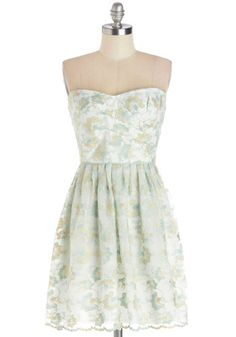 Fond of Hosting Dress - Knit, Short, Embroidery, Wedding, Cocktail, Bridesmaid, A-line, Strapless, Better, Sweetheart, White, Blue, Gold