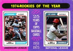 1974 Rookie of the Year, 1975 Topps Baseball Cards That Never Were. Mike Hargrove, Texas Rangers, Bake McBride, St, Louis Cardinals.