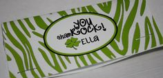 Cute saying for Thank You cards  Treat Bag Toppers - Green Zebra Set of 6 Personalized St Patrick's Day Party Favors. $6.00, via Etsy.