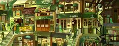 Matcha Fox - Plaza Cute Art Styles, Animation Reference, Witch House, Animation Background, Environment Concept Art, Anime Scenery, Environmental Design, Fantasy Landscape, Anime Artwork