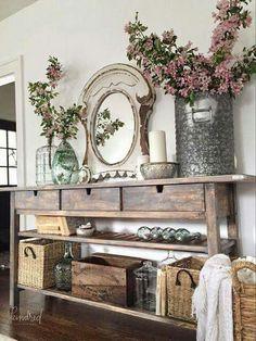 entryway table / decor / ideas / inspiration / styling / vignette / farmhouse / rustic