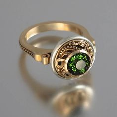 OLGA 14K gold ring with 1.4ct Green Tourmaline by WingedLion, $1155.00