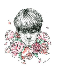 Jungkook with flowers | fanart