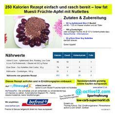 250 Kalorien Rezept einfach und rasch bereit – low fat: Muesli Früchte-Apfel mit Nutlettes, mit Nährwerten, auf myfitnesspal bereit als active12.com Muesli Fruechte-Apfel mit Nutlettes, hier als PDF: www.active12.ch