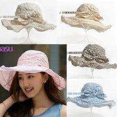 67659337ace40 Women Floppy Cotton Sun Hat With Bow Wide Large Brim Cap Foldable Anti-UV  Hats