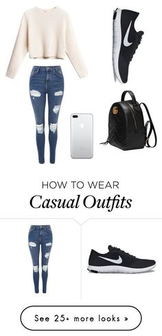 """Casual"" by dianaspencer9 on Polyvore featuring Topshop, NIKE and Gucci"
