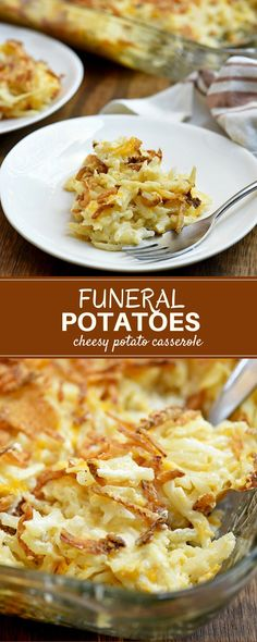 Funeral Potatoes - Onion Rings & Things Funeral potatoes with creamy hashbrowns and crunchy french-fried onions. Easy to make yet hearty and tasty, this cheesy potato casserole is a guaranteed crowd-pleaser! Cheesy Potato Casserole, Hashbrown Breakfast Casserole, Casserole Dishes, Casserole Recipes, French Fry Casserole, Cheesy Potatoes With Hashbrowns, Easy Cheesy Potatoes, Good Food, Yummy Food