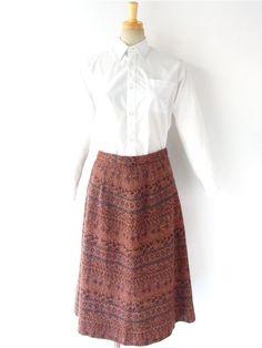 【ヨーロッパ古着】フランス買い付け ブラウン X オレンジ 細やかなスクエアの幾何学模様柄 スカート 14FC725【レトロデザイン】