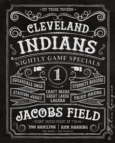 Cleveland Indians Pub PRINT - Vintage Chalkboard - My Tribe Tavern - Birthday, Anniversary for Diehard Indians Fan - Unframed Print