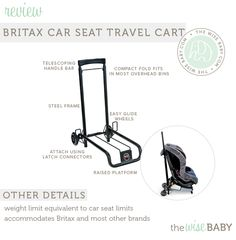 Car Seats Attach Effortlessly To The Britax Seat Travel Cart Using LATCH Connectors Same That Se