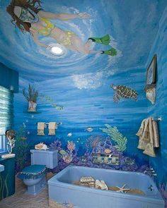 bathroom themes for girls Bathroom Mural, Mermaid Bathroom Decor, Bathroom Images, Bathroom Ideas, Ocean Room, Group Home, Mermaid Lagoon, Underwater Life, Futuristic Furniture