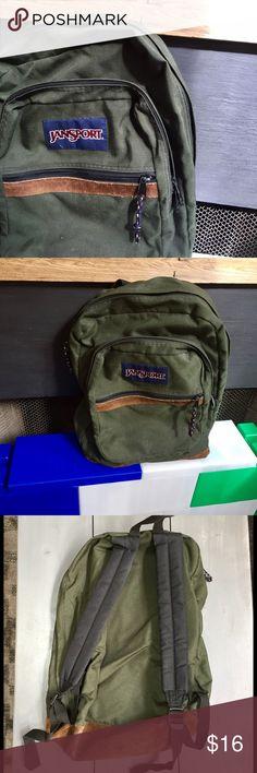 Green Jansport Backpack Suede bottom, forest green, padded straps. Well-loved and still kicking. 🤘 Jansport Bags Backpacks