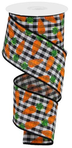 Excited to share this item from my #etsy shop: Black white gingham carrot ribbon, Black White Orange Green ribbon, Easter ribbon, Spring ribbon, 2.5 inch Ribbon with Carrots, RGA1591X6 #black #easter #white #canvas #waysidewhimsy Green Ribbon, White Ribbon, Make Your Own Wreath, Nautical Wreath, Wreath Supplies, Striped Canvas, Ticking Stripe, Trendy Tree, Gingham Check