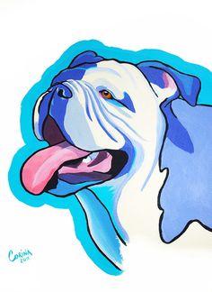 English Bull Dog  Original Dog Portrait by CorinaStMartinArt, $85.00