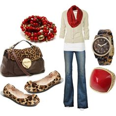 Discover this look wearing J Brand Jeans, Michael Kors Bags, Steve Madden Flats - Red Leopard - Fall Outfit by JoselineRose styled for Casual, Vacation in the Fall Fall Outfits, Dress Outfits, Cute Outfits, Casual Outfits, Denim Outfits, Looks Style, Style Me, Look Fashion, Womens Fashion