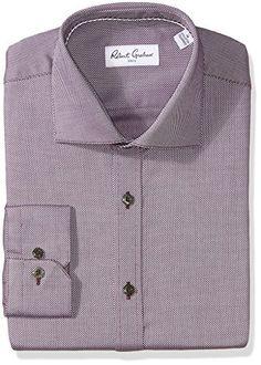 Robert Graham Men's Felix Regular Fit Textured Dress Shirt, Wine, 17″ Neck 36″ Sleeve. Regular cuffs. Spread collar. Felix normal