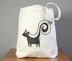 Skunk canvas tote bag, skunk beach bag, skunk school tote, skunk book bag