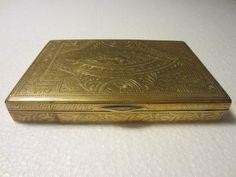 Brass Humidor Box Floral Engraving Vintage Culture Art – Designer Unique Finds