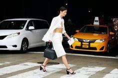 Monochrome perfection. street style. crop, skirt, cape. White. Black