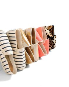 MAY '15 Style Guide: J.Crew women's slip-on Espadrilles in canvas, metallic suede and calf hair.