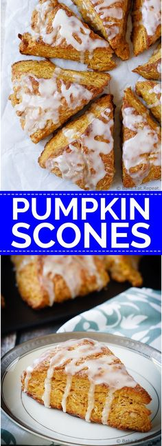 Pumpkin Scones - Light and fluffy pumpkin scones topped with a sweet ...