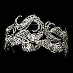 Antique Silver Clear Multi Cut Rhinestone Tiara
