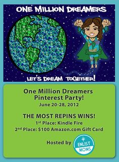 One Million Dreamers Pinterest #Contest! Grand Prize -  Kindle Fire!
