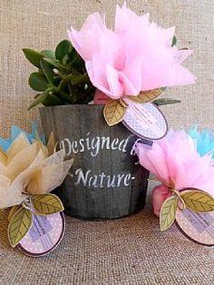 Μπομπονιέρα βάπτισης χάρτινα λουλούδια