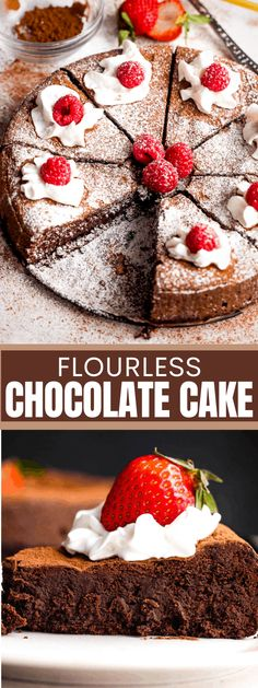 This easy and low carb Flourless Chocolate Cake is amazingly rich and decadent. Every bite is packed with fudge-like chocolate flavor and it will satisfy all your chocolate cravings. #chocolatecake #flourlesschocolatecake #glutenfreecake #chocolatecakerecipe #valentinesdaydessert Flourless Desserts, Best Chocolate Desserts, Flourless Chocolate Cakes, Chocolate Lovers, Easy Cake Recipes, Cupcake Recipes, Dessert Recipes, Free Recipes, Cupcakes