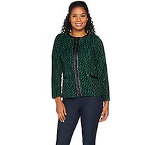 Bob Mackie's Printed Fleece Jacket with Faux Leather Trim