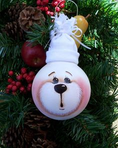 cute bear face on the light bulb and white hat