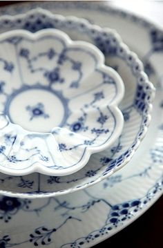 blue and white Royal Copenhagen's Full Lace