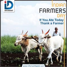 """""""If you Ate today. Thank a Farmer."""" Farmer's Day is observed every year on 23 December to celebrate the birth anniversary of the fifth prime minister and kisan leader, late Chaudhary Charan Singh. Farmers Day, 23 December, Ahmedabad, Prime Minister, Digital, Mumbai, Birth, Anniversary, Life"""