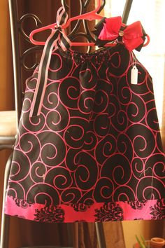 Black Pillowcase Dress with hot pink design. $20.00, via Etsy. by PrettyinaBowBoutique