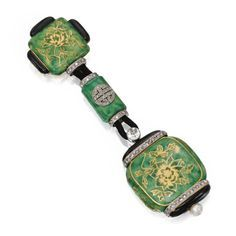 18 KARAT GOLD, PLATINUM, ENAMEL, DIAMOND AND PEARL LAPEL-WATCH, LACLOCHE FRÈRES, FRANCE, CIRCA 1925.
