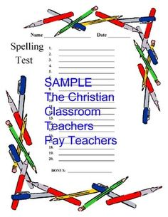 Pre Numbered And Lined Paper For Spelling Tests