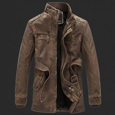 Zombie Apocalypse protective long leather jacket with high collar.