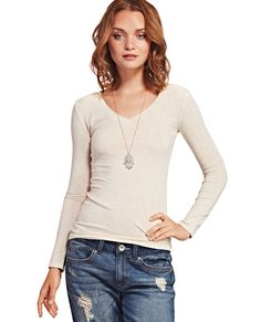 Solid V-Neck Long Sleeve Tee | Wet Seal