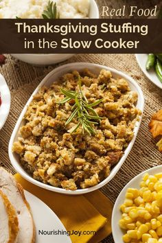 Free up your oven for other Thanksgiving dishes by making your stuffing in the slow cooker! It works marvelously and fills your home with delicious aromas. i love the tip about putting a pot inside the slow cooker - I must try this. Best Thanksgiving Recipes, Thanksgiving Stuffing, Holiday Recipes, Turkey Stuffing, Thanksgiving Cakes, Thanksgiving 2016, Thanksgiving Vegetables, Dinner Recipes, Thanksgiving Traditions