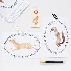 Wolf  Deer Postcard Set, Julianna Swaney