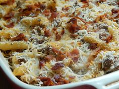Bacon cheeseburger pasta bake by drizzle me skinny (add more cream cheese and shredded cheese)