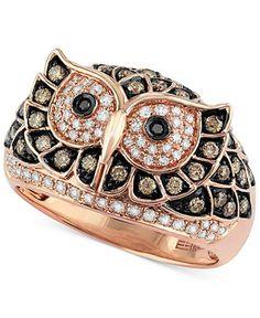 Confetti by EFFY White and Brown Diamond Owl Ring Pinned by www.myowlbarn.com
