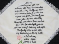 Embroidered Wedding Handkerchief for your new Daughter In Law. This listing is for 74 words. Let us help you make your handkerchief special., $48.00