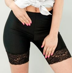 "Lace bike shorts to wear under potentially too-short skirts. Brilliant!    From the article: ""Tip: wear bike shorts! I buy these American Apparel lace trimmed bike shorts in case they peek out when I sit. It looks intentional. A healthy ""Yeah, I MEANT to do that!"" attitude will take you far in fashion."""