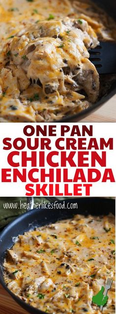 This One Pan Sour Cream Chicken Enchilada Skillet is cheesy, creamy, zesty and so much easier than spending your day rolling up enchiladas! Sour Cream Chicken, Skillet Cooking, Cooking For One, Chicken Enchiladas, Crockpot, Rolls, Paleo, Meat, Desserts